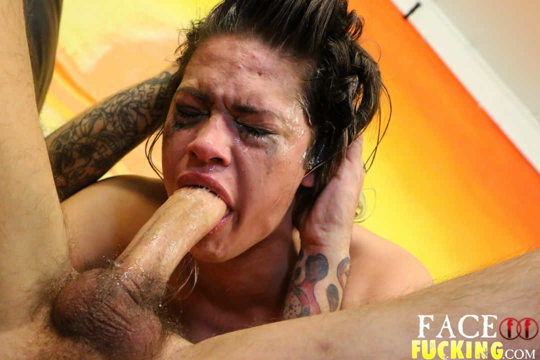 Asian slut face fucked by big black cock
